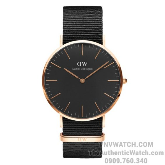 Classic Black Cornwall 40mm Rose Gold